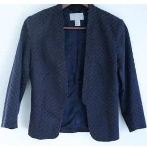 H&M Jacquard Navy & Purple Blazer